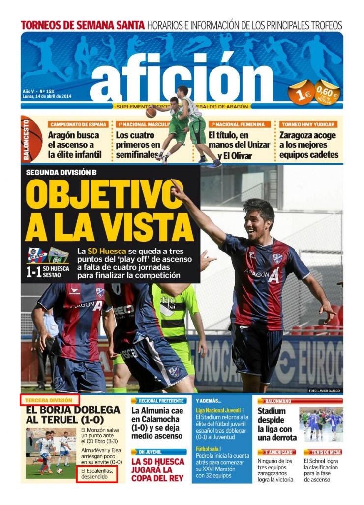 Portada Afición, Heraldo de Aragón (14 abril de 2014)