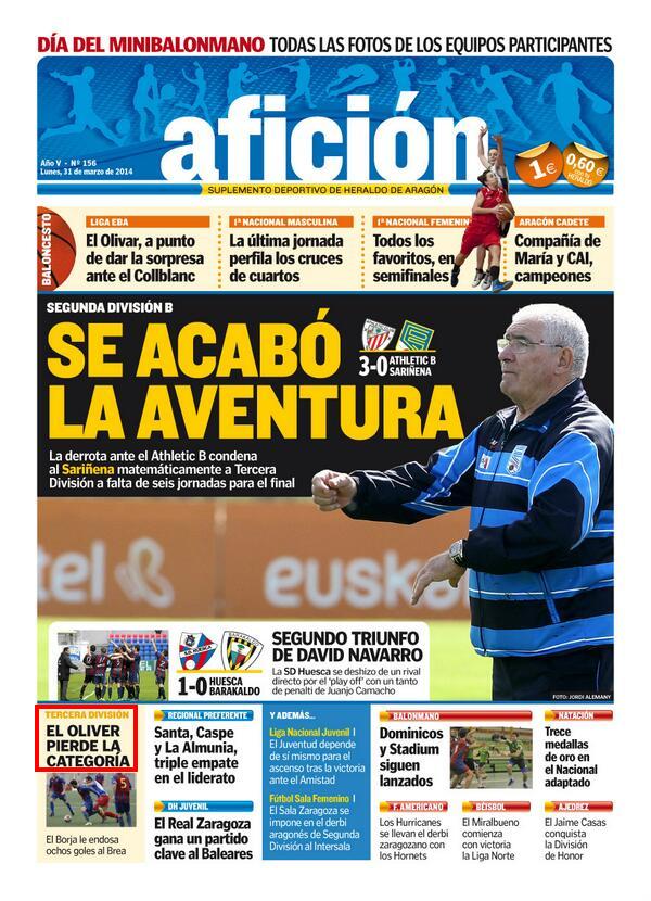 Portada Afición, Heraldo de Aragón (31 de marzo de 2014)